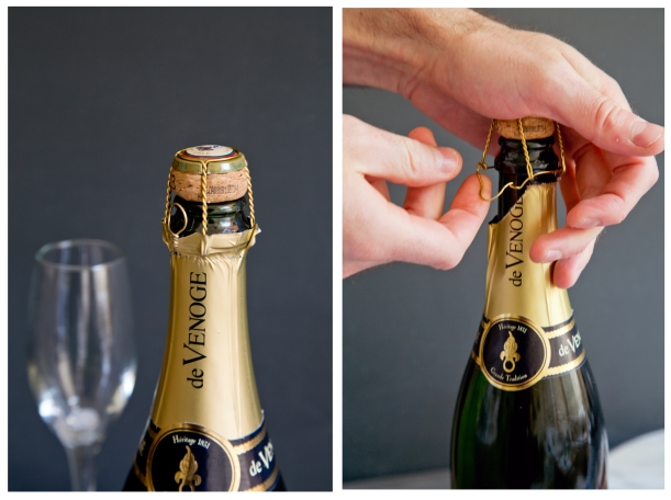 Always hold the cork when opening Champagne or you could put an eye out!