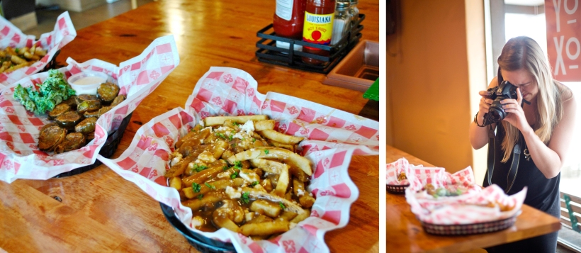 Katherine photographing some amazing sides at the Toybox Bistro. Photo on the left courtesy of KatieActually.com